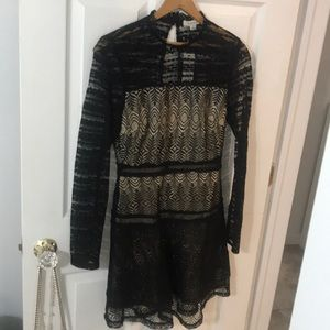 Brand New With Tags Black Lace Long Sleeve Dress S
